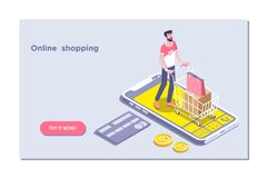 Ecommerce Online-lager, symbol för shoppingvagn Isometrisk vektorillustration royaltyfri illustrationer