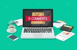 Ecommerce pojęcia wektor, pracującego stołu biurko z laptopem analizuje online interneta sklep, biurowy desktop, e ilustracji