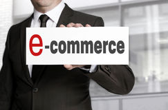 Ecommerce sign held by businessman Stock Photography