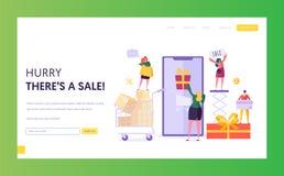 Ecommerce sklepu sprzedaży strony internetowej szablon Kobieta Sklepowy Online Używa Smartphone Handel elektroniczny, konsumeryzm royalty ilustracja