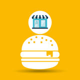 Ecommerce store fast food burger icon Royalty Free Stock Image