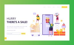 Ecommerce Store Sale Website Template. Woman Shop Online Using Smartphone. E-commerce, Consumerism, Retail Concept. Characters Shopping Mobile for Website or royalty free illustration