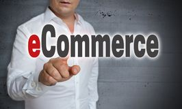 ECommerce touchscreen is operated by man.  Royalty Free Stock Photos