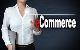 Ecommerce touchscreen is shown by businesswoman.  Royalty Free Stock Photography