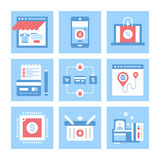 Ecommerce. Vector set of flat digital commerce icons on following themes - webshop, mobile commerce, ecommerce, shopping list, secure transactions, navigation Royalty Free Stock Image