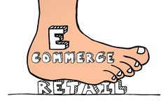 Ecommerce Vs Retail Foot Stomping Business Model. Ecommerce Vs Retail Foot Stomping Word Winning Business Model 3d Illustration Royalty Free Stock Photos