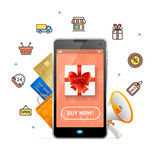 Ecommerce Web Design Online Concept Mobile Phone App. Vector Royalty Free Stock Images