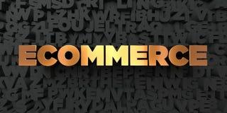 Ecommerce - Złocisty tekst na czarnym tle - 3D odpłacający się królewskość bezpłatny akcyjny obrazek ilustracja wektor