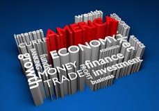 Economía de América e inversiones comerciales para el crecimiento del GDP, representación 3D Fotos de archivo