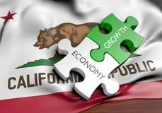 Economía de California y concepto del GDP del crecimiento del mercado financiero, representación 3D Fotos de archivo libres de regalías