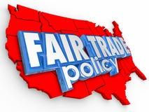 Economía de fuente del mapa de Poliy los E.E.U.U. Estados Unidos América del comercio justo Foto de archivo libre de regalías