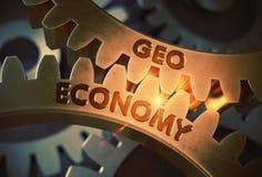 Economía de Geo en los engranajes metálicos de oro ilustración 3D ilustración del vector
