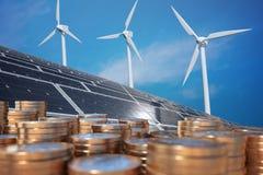 Economía de la energía alternativa Dinero delante de los paneles solares y de los turbunes del viento 3D rindió la ilustración stock de ilustración