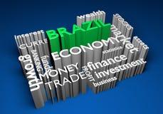 Economía del Brasil e inversiones comerciales para el crecimiento del GDP, representación 3D Fotografía de archivo