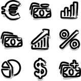 Economía del contorno de la etiqueta de plástico de los iconos del Web del vector Foto de archivo