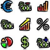 Economía del contorno del color de la etiqueta de plástico de los iconos del Web del vector Foto de archivo