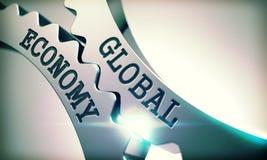 Economía global - mecanismo de las ruedas dentadas del metal 3d Foto de archivo