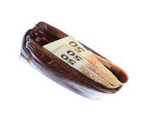 Economía y finanzas. Cartera con el billete de banco euro aislado Imágenes de archivo libres de regalías