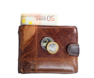 Economía y finanzas. Cartera con el billete de banco euro aislado Imagenes de archivo