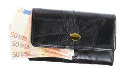 Economía y finanzas Monedero con el billete de banco euro aislado Foto de archivo libre de regalías