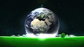 Economia de energia Excepto a terra Conceito de Eco Fundo do ambiente de mundo Anima??o do la?o ilustração do vetor