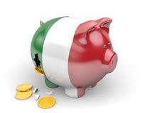 Economia de Itália e conceito da finança para a crise do desemprego e da dívida pública ilustração stock