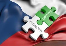 Economia de República Checa e conceito do crescimento do mercado financeiro ilustração do vetor