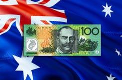 Economia del dollaro australiano per l'affare e l'illustrazione finanziaria di idee di concetto, fondo Concetto con il dollaro au fotografia stock libera da diritti