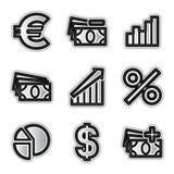 Economia delle icone di Web di vettore Fotografie Stock Libere da Diritti