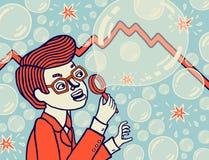 Economia di bolla Crollo economico Illustrazione di vettore Fotografia Stock