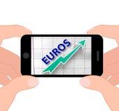 Economia do europeu de Euros Graph Displays Growth Of Foto de Stock