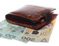 Economia e finança. Carteira com a cédula polonesa isolada Fotografia de Stock