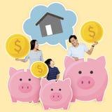 Economia feliz da família para sua casa futura fotografia de stock royalty free