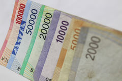 Economia financeira do negócio da troca de moeda da rupia indonésia Fotos de Stock