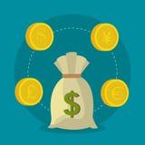 Economia global, dinheiro e negócio Fotos de Stock Royalty Free