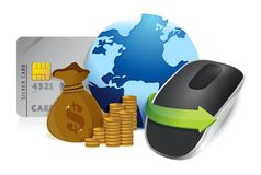 Economia internazionale e topo senza fili del computer Fotografia Stock Libera da Diritti