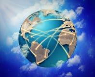 Economia moderna da parceria da conexão de negócio global do Internet Fotografia de Stock