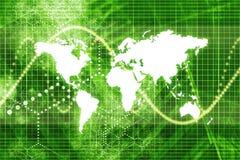 Economia mondiale verde del mercato azionario Fotografia Stock