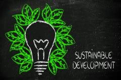 Economia verde, folhas que crescem em torno de uma ideia Fotografia de Stock