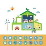 Economias da casa verde o planeta imagem de stock