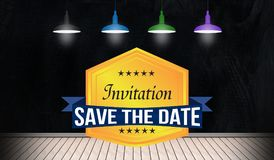 Economias de Inivitation o crachá da data na opinião da sala 3D ilustração royalty free