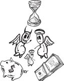 Economias e ilustrações do conceito da despesa com anjo e diabo Imagem de Stock Royalty Free