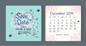 Economias florais do convite do casamento da tipografia da arte o cartão de data ilustração stock