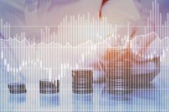 Economias ou conceito financeiro da renda passiva fotografia de stock