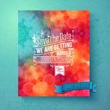Economias vibrantes dinâmicas o convite do casamento da data Imagens de Stock