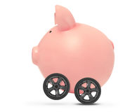 Economic acceleration concept. Piggy bank with wheels, white background stock photo