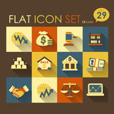 Economic activities & financial icon set. Vector flat design Royalty Free Stock Photos