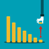 Economic activity decline vector concept in flat style.  Royalty Free Stock Photo