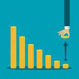 Economic activity decline vector concept in flat style.  stock illustration