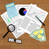 Economic analysis of graphs and diagrams. Analyzing work stock index, vector illustration Stock Photo